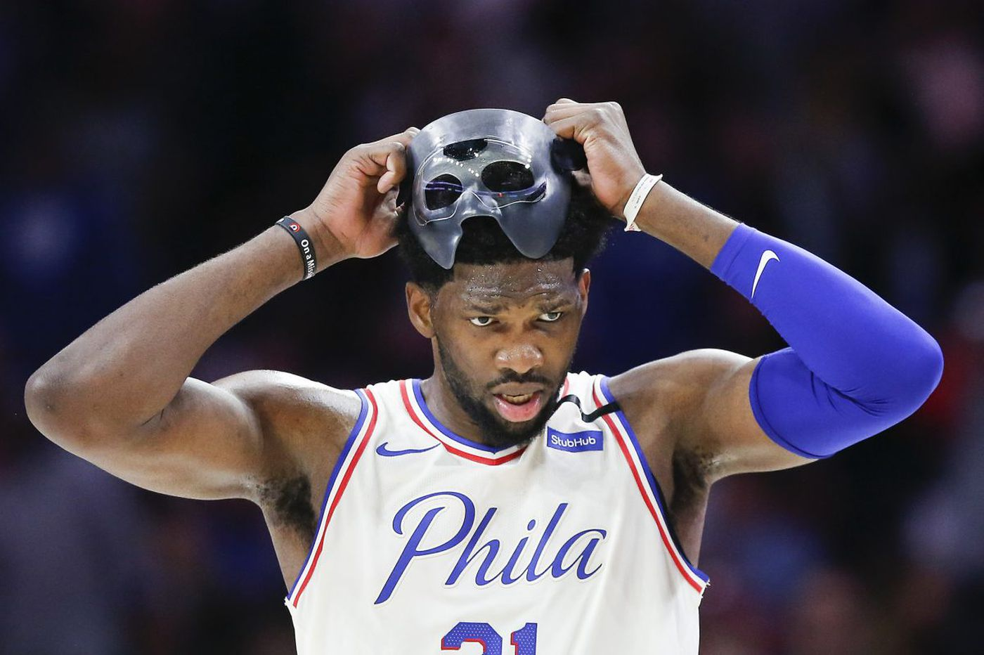 Sixers' Joel Embiid hopes to take off mask in two weeks