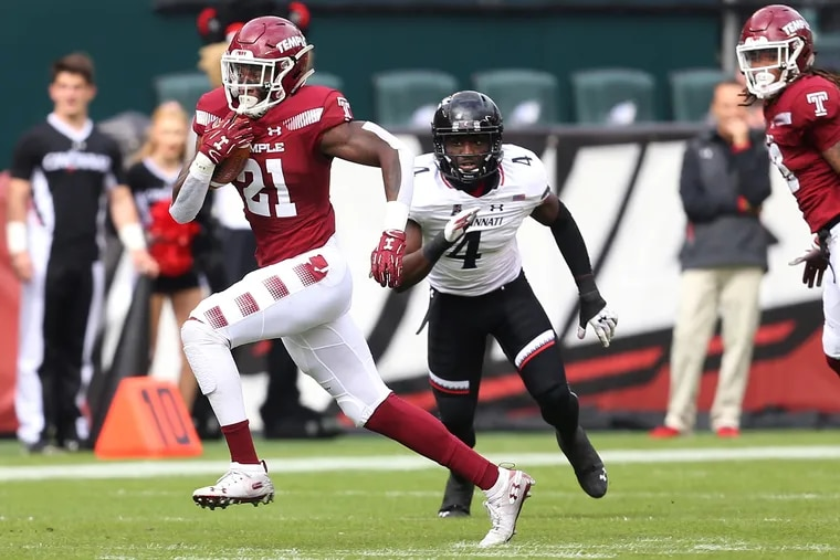 Graduate running back Jager Gardner, pictured running the ball against Cincinnati last season, is an early frontrunner to be one of Temple's top backs this year.