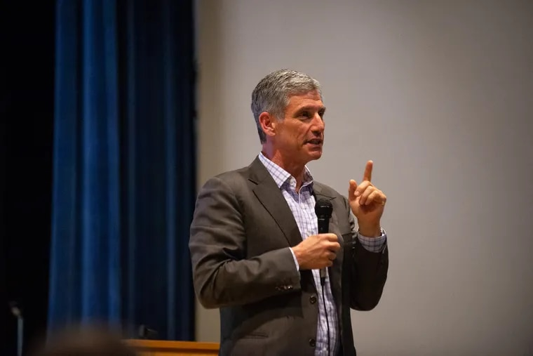 Daniel Greenstein, chancellor of the Pennsylvania State System of Higher Education, addresses a crowd of students, faculty and alumni at Cheyney University on Friday, April 26, 2019.