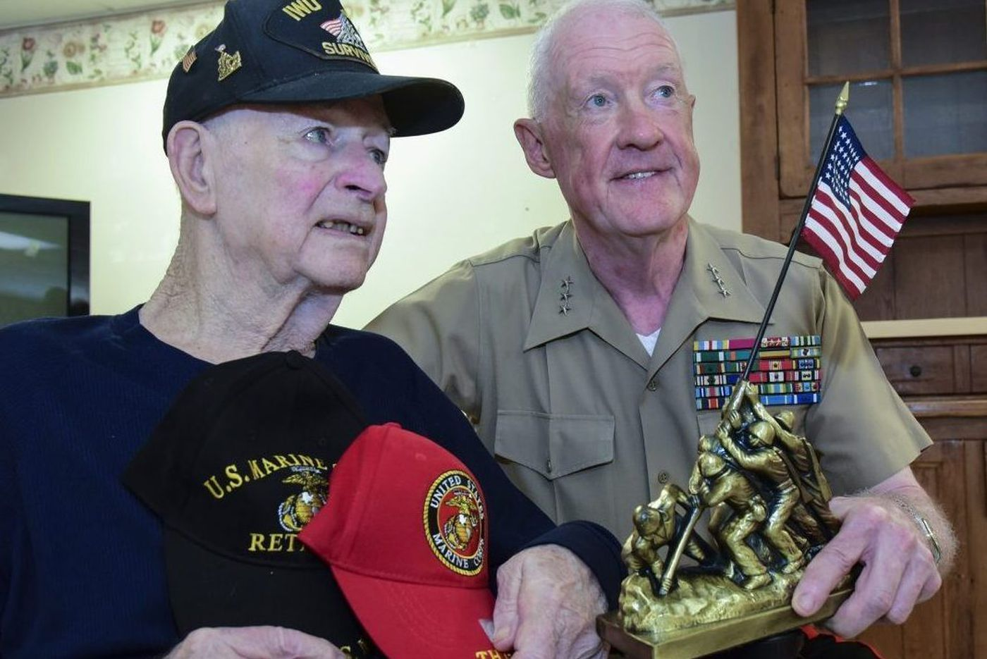 Iwo Jima vet in hospice care, 93, honored by Marine Corps general