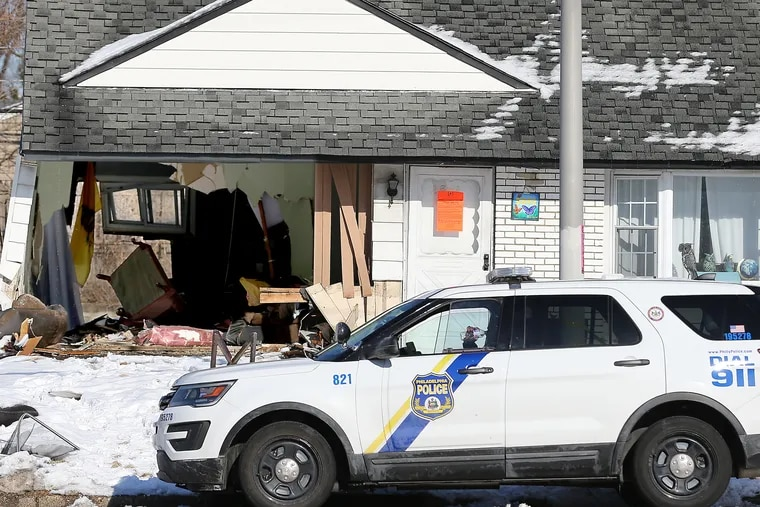 """Officer Gregory Campbell allegedly crashed into the living room of this Northeast Philadelphia home on Comly Road, causing serious injuries. Court documents allege he was intoxicated and traveling """"at least"""" 70 mph. Law enforcement sources say he visited the FOP bar and restaurant up the street before the Saturday evening crash."""
