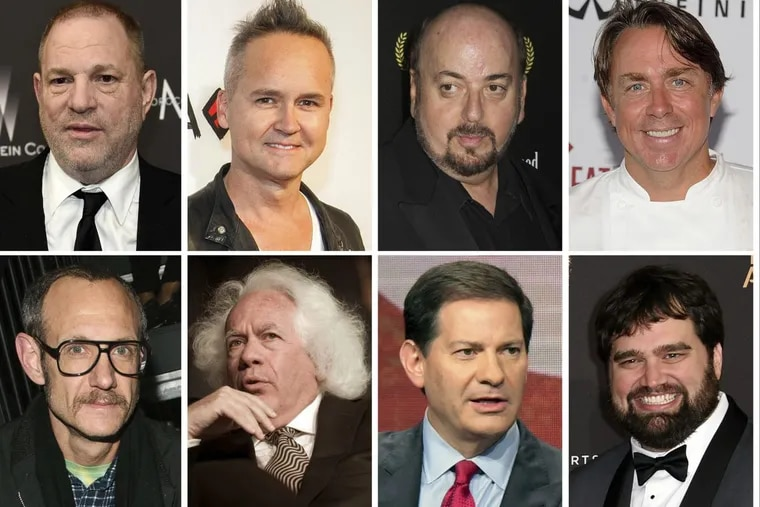 This combination photo shows, top row from left, film producer Harvey Weinstein, former Amazon Studios executive Roy Price, director James Toback, New Orleans chef John Besh; bottom row from left, fashion photographer Terry Richardson, New Republic contributing editor Leon Wiseltier, former NBC News political commentator Mark Halperin, former Defy Media executive Andy Signore. In the weeks since the string of allegations against Weinstein first began, an ongoing domino effect tumbled through not just Hollywood but at least a dozen other industries.