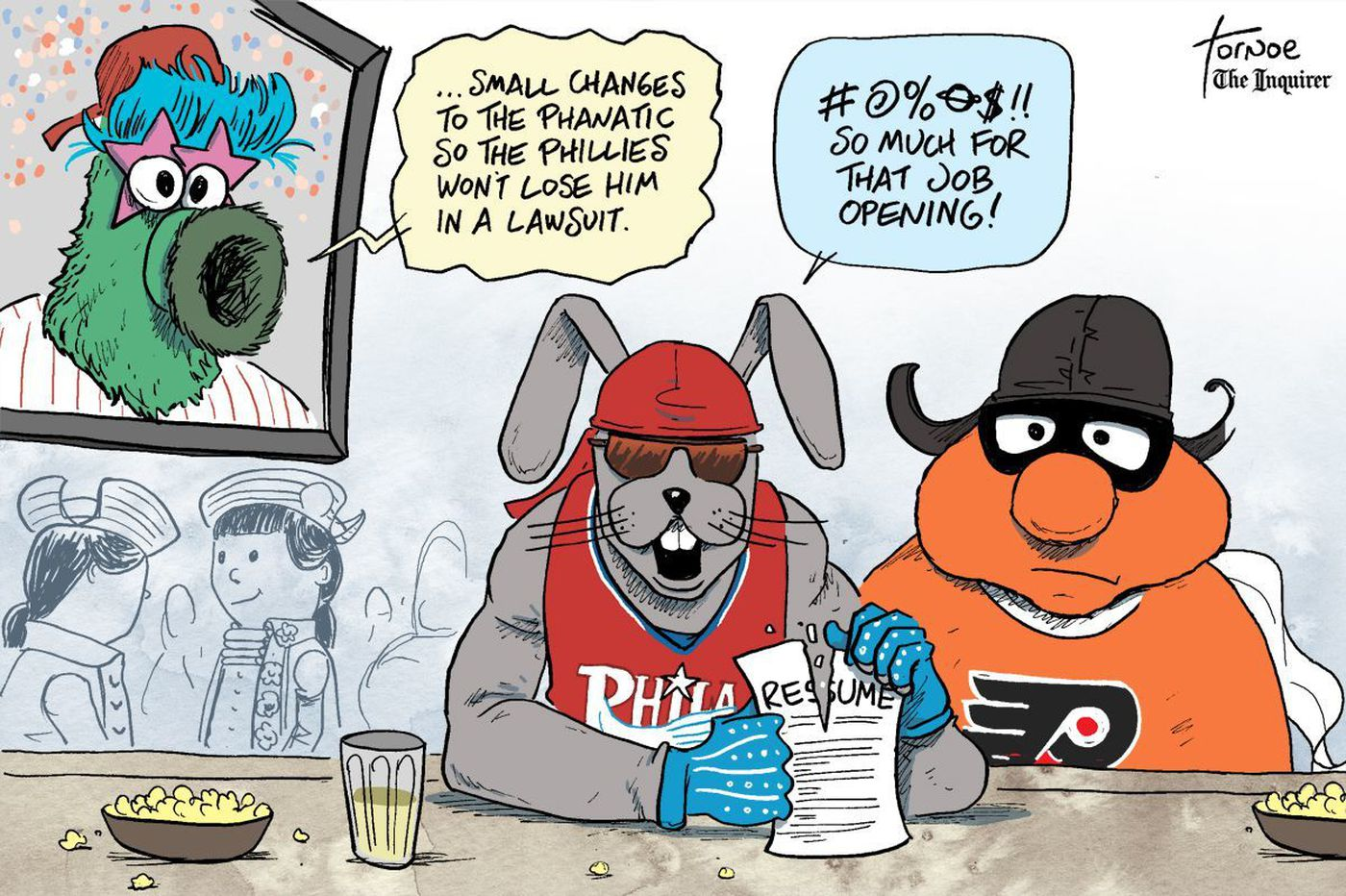 Sports cartoon: Will the Phillie Phanatic join the ranks of other discarded Philly mascots?