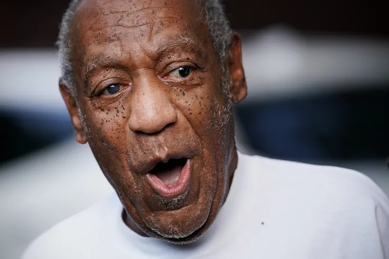 Bill Cosby, accompanied by his attorneys, makes his first public appearance at his home in Elkins Park, Pa., after being released from prison several hours earlier on Wednesday, June 30, 2021. The Pennsylvania Supreme Court overturned Cosby's 2018 sexual assault conviction and ordered him released Wednesday.