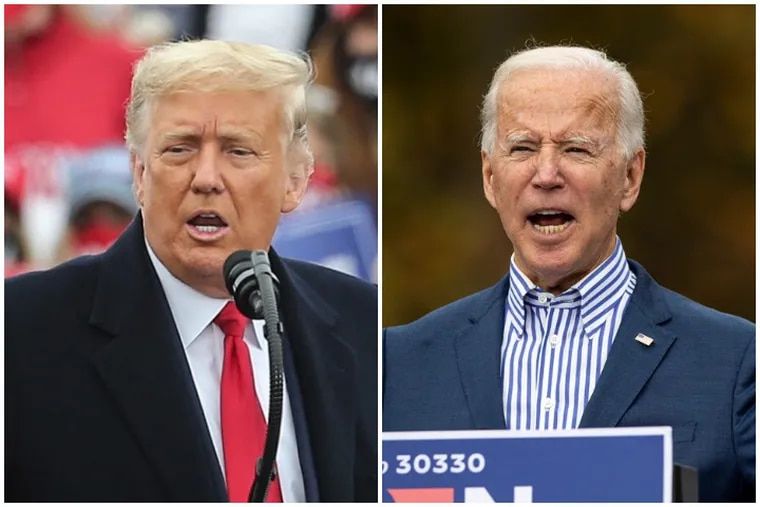 Donald Trump, left, and Joe Biden are trying to get to 270 Electoral College votes.