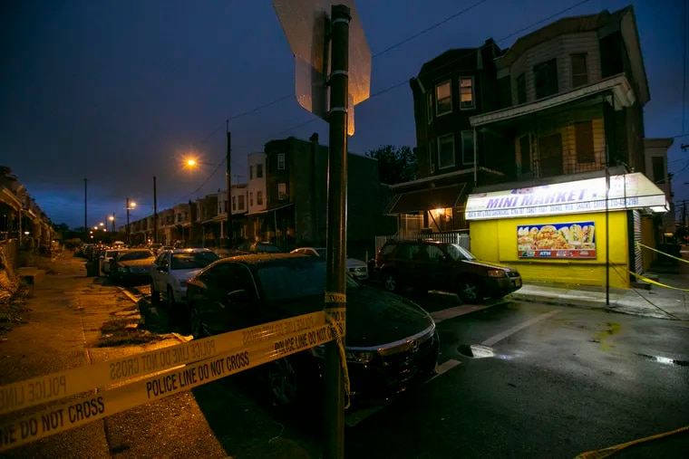 The intersection of 4500 block of N. 19th and Wingohocking Streets in Philadelphia near the scene of a shooting late Tuesday in which police said five people were struck.