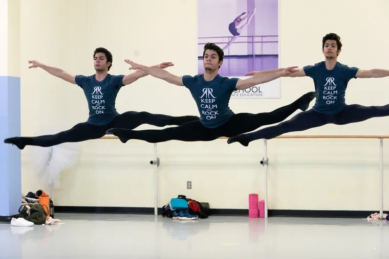 Cuban triplets (from left) César, Marcos, and Angel Ramirez, are studying at the Rock School for Dance Education.