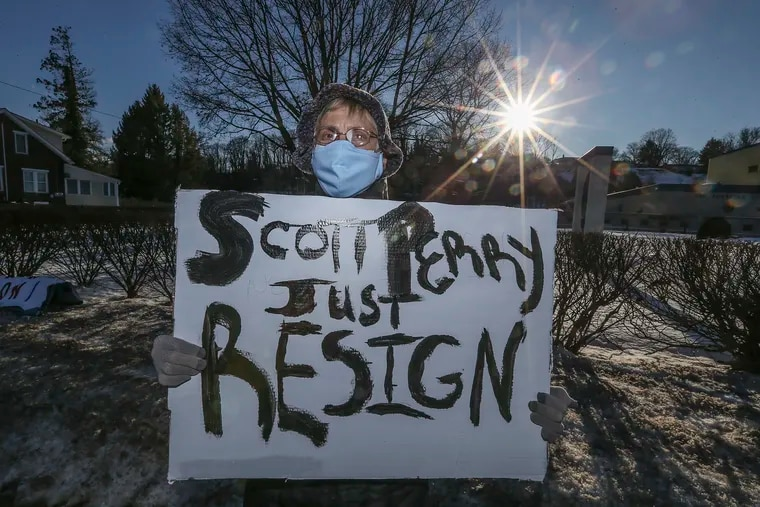 Pamela Hunter from Cumberland County protesting Rep. Scott Perry (R-Pa.), near his headquarters in Wormleysburg, Pa., Friday,  February 5, 2021.