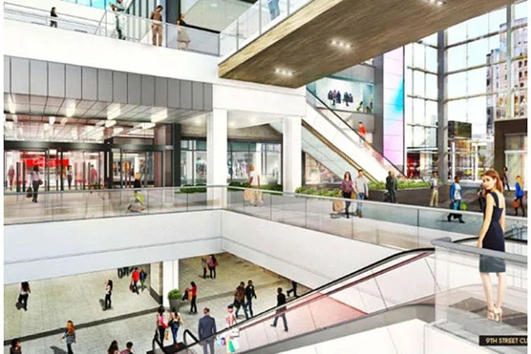 PREIT's two-year plan for the Gallery include glass storefronts, to admit both shoppers and light, and new light-reflecting white tile, to brighten and recast the space. Glass railings and new escalators would add to the airy feel. (PREIT photo file)
