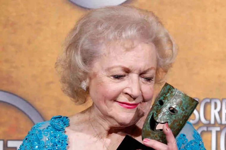 Betty White with her lifetime achievement award at the Screen Actors Guild awards Jan. 23. Clearly she's not done achieving yet.