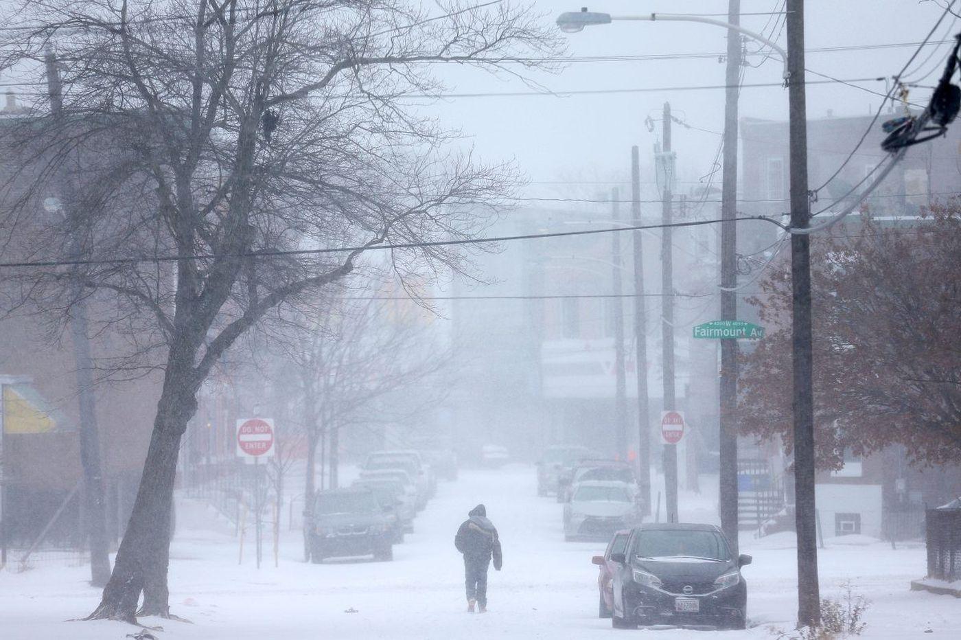 How much snow has fallen in Philadelphia, Atlantic City? Latest updates