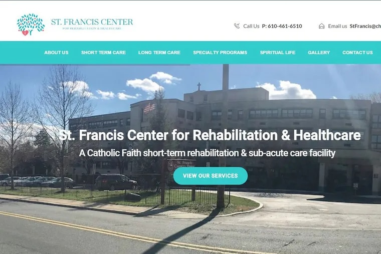 An image from the website of St. Francis Center for Rehabilitation & Health Care, in Darby.