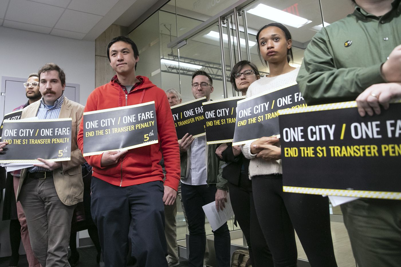 Activists from 5th Square, an urbanist political action committee, lobbied in March for fare changes at SEPTA headquarters in Center City Philadelphia.