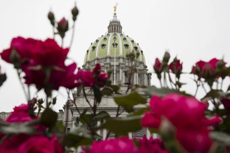 Shown is the Pennsylvania Capitol building along with roses in Harrisburg, Pa., Tuesday, May 23, 2017. (AP Photo/Matt Rourke)