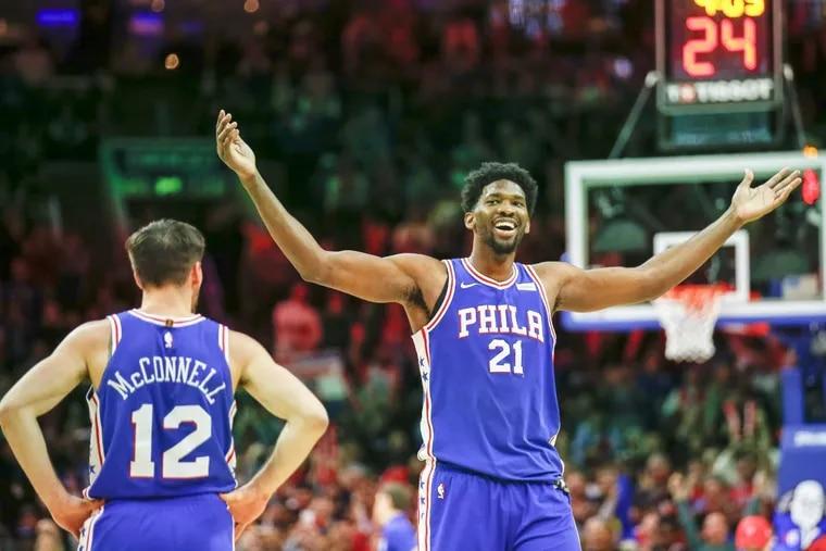 Philadelphia 76ers center Joel Embiid got Utah Jazz rookie guard Donovan Mitchell riled up during Monday's game at the Wells Fargo Center.