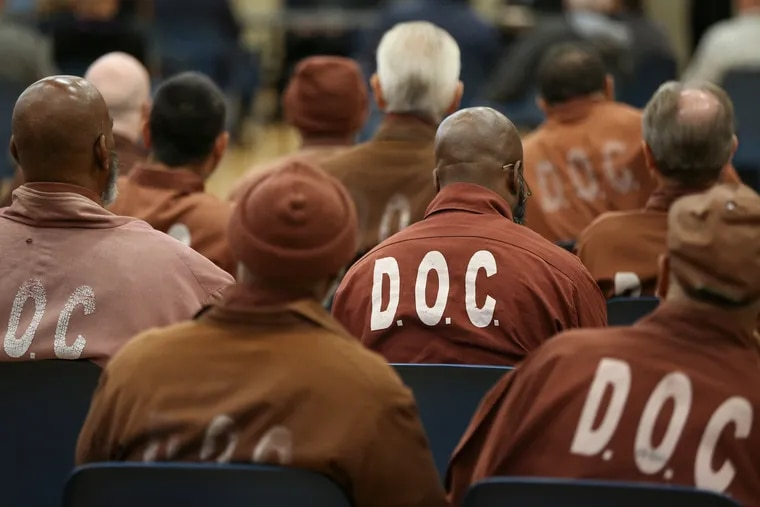 Inmates listen at the State Correctional Institution Dallas in October 2019. As of Nov. 10, the prison counted 67 cases of COVID-19 among prisoners and 27 more among staff.