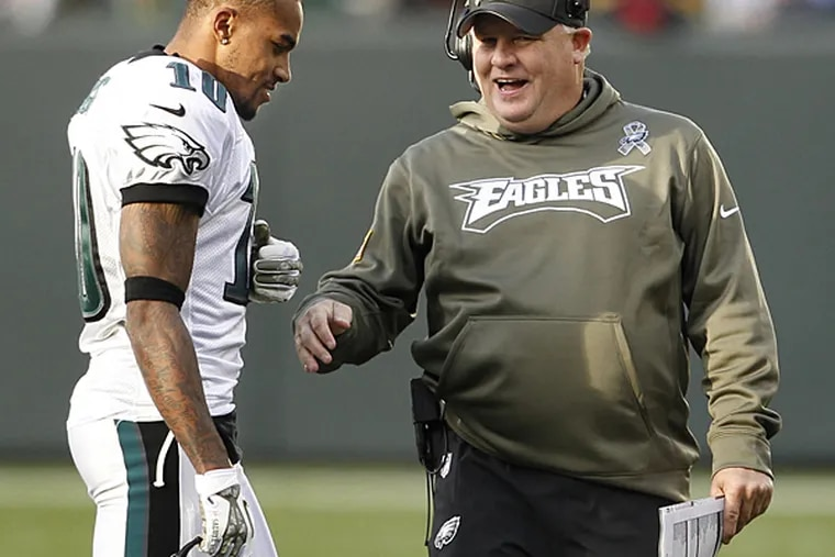 Former Eagles wide receiver DeSean Jackson and Eagles head coach Chip Kelly. (Ron Cortes/Staff Photographer)