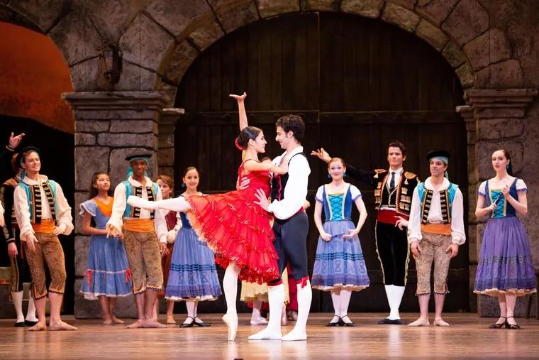 "Mayara Pineiro is Kitri and Arian Molina Soca is Basilio in Pennsylvania Ballet's ""Don Quixote."""