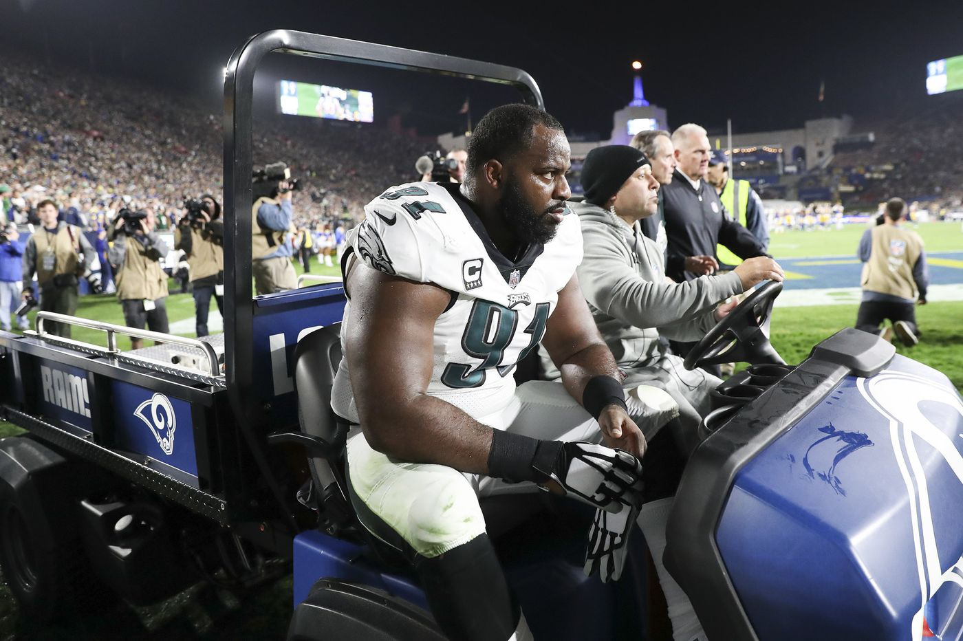 Eagles' Fletcher Cox leaves, comes back, gets a big sack of Rams' Jared Goff