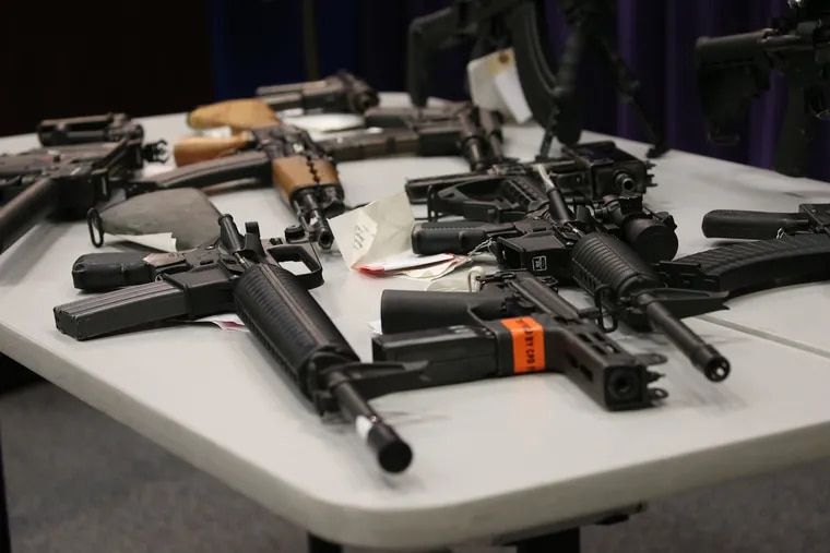 Illegal weapons confiscated by police are displayed at Chicago police headquarters on May 10, 2018. An expert from Northwestern University noted that confiscated firearms are only a fraction of the illegal gun market. (Antonio Perez/Chicago Tribune/TNS)