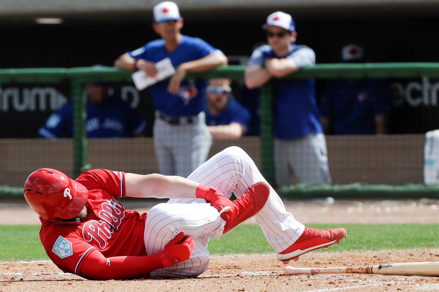 Bryce Harper leaves Phillies game with foot contusion after being hit by pitch