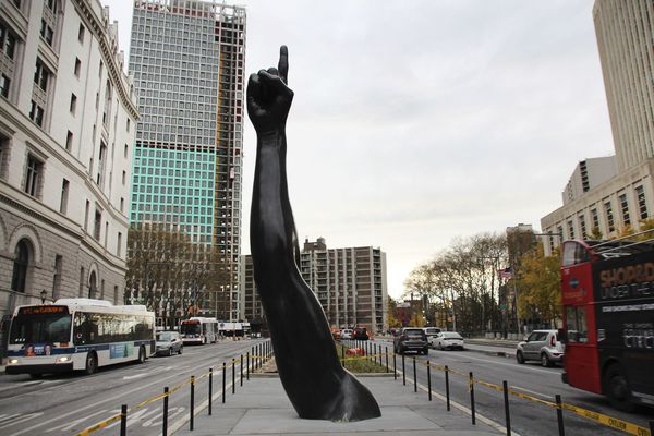 There's a giant sculpture of Joel Embiid's arm ... in Brooklyn?