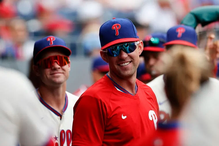 Phillies first baseman Rhys Hoskins in the dugout before the Phillies played the New York Mets on Saturday, Aug. 7. The first baseman is out for the remainder of the season due to injury.