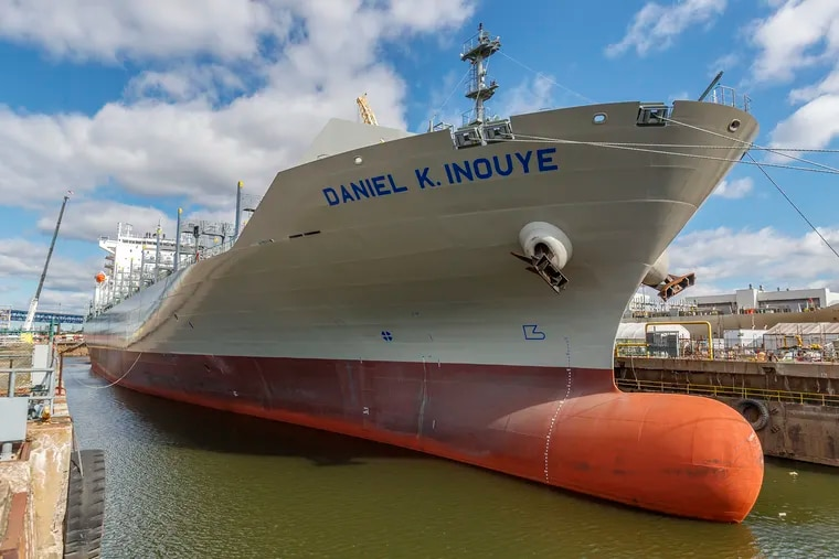 Vessel No. 29, a container ship, the Daniel K. Inouye, built at Philly Shipyard ASA, awaits delivery to the Matson Shipping Co.
