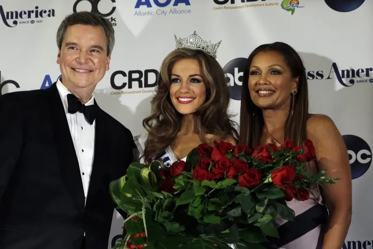 Happier times.  Newly crowned Miss America Betty Cantrell, center, stands with Miss America Chairman and CEO Sam Haskell III, left, and former Miss America Vanessa Williams at the  2016 pageant.