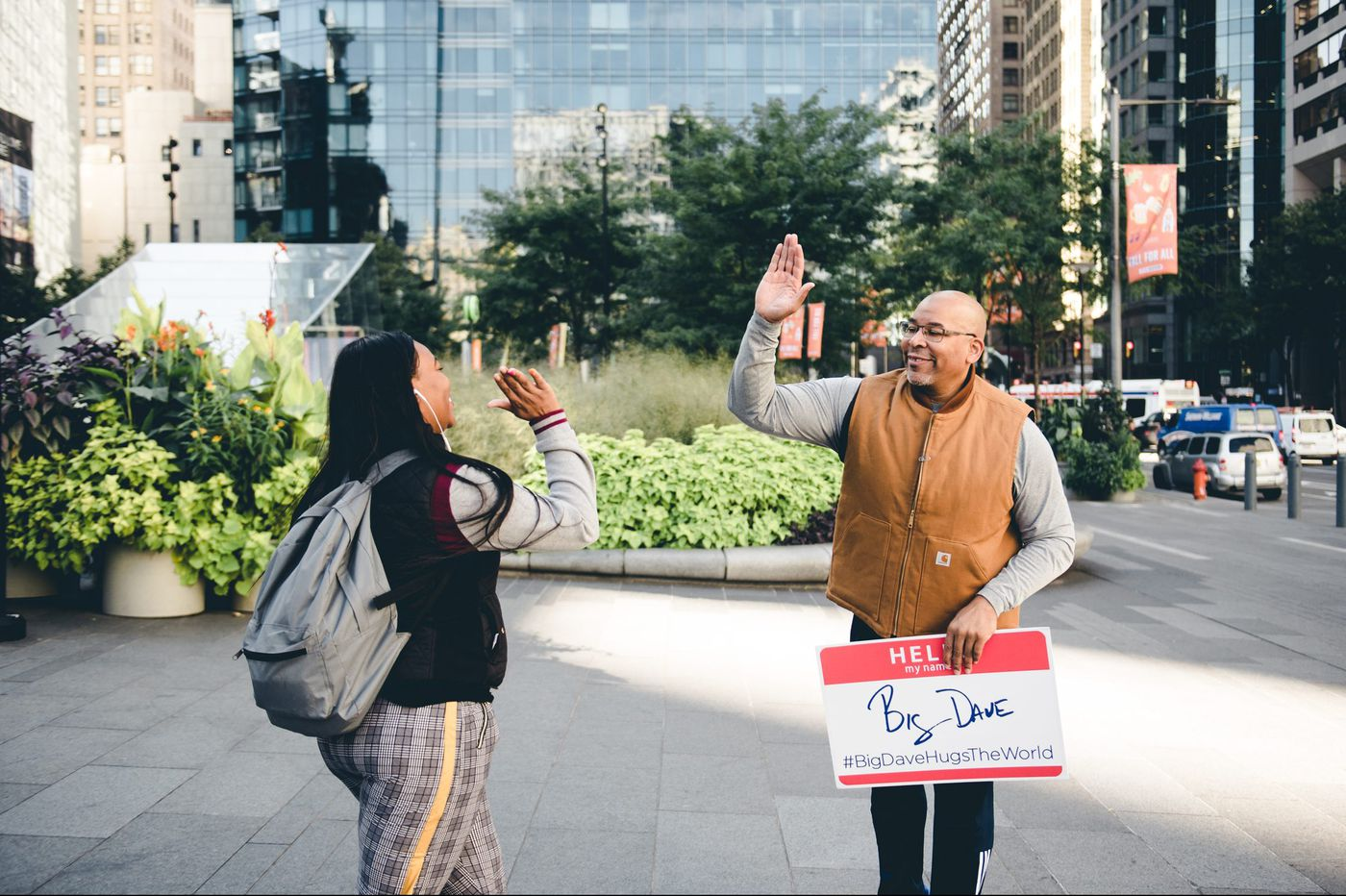 Free high fives and hugs: Philadelphia's 'Big Dave' delivers 250,000 of them in 36 countries across the world