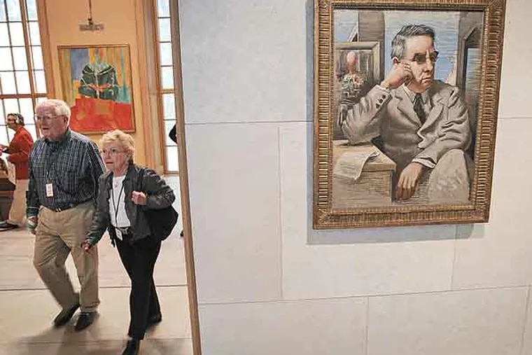 Painted portrait of Dr. Albert C. Barnes in the entrance to the gallery in the new Barnes Museum in Philadelphia. ( ALEJANDRO A. ALVAREZ / STAFF PHOTOGRAPHER )