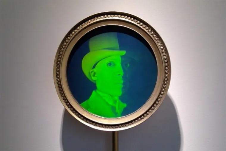 Hank Willis Thomas, Envoy, 2013 mixed media (hologram) 61 x 17 1/2 x 4 5/8 inches.