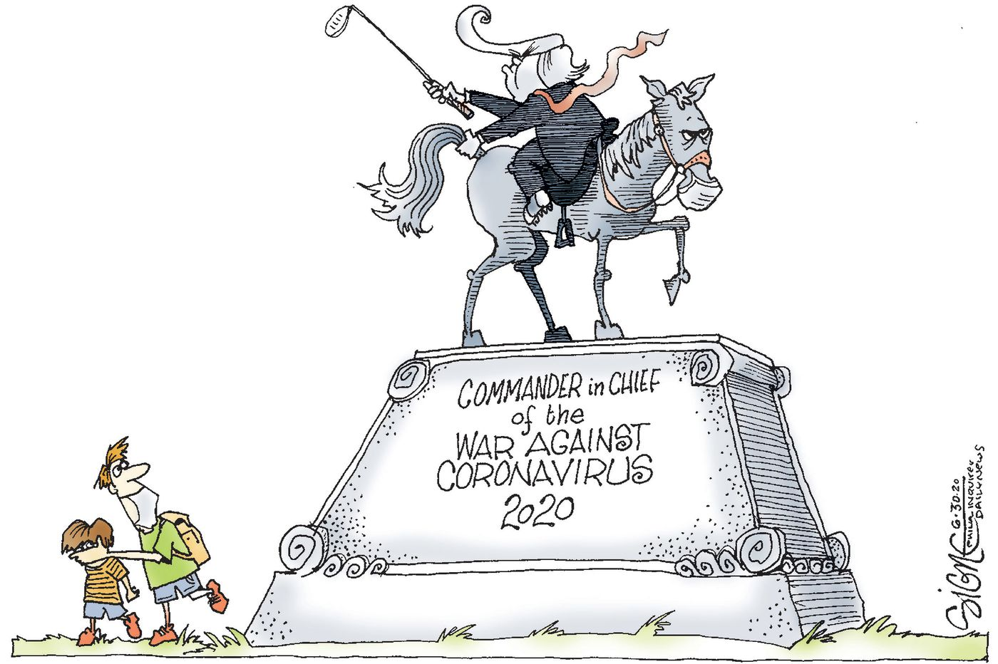 Political Cartoon: A statue to American leadership in the war against COVID-19