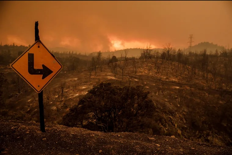 Destruction across the rural areas outside Redding, Calif., on Friday.