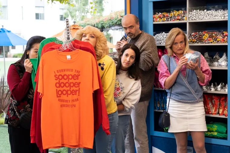 """The Wednesday, Oct. 17, episode of ABC's """"The Goldbergs"""" heads to Hersheypark. Wendi McLendon-<br/> Covey (left), plays Beverly Goldberg, whose son Adam didn't want her chaperoning his school trip. Also pictured as parents: Suzy Nakamura, Emily McCoy, Scott Adsit, and Jennifer Irwin."""