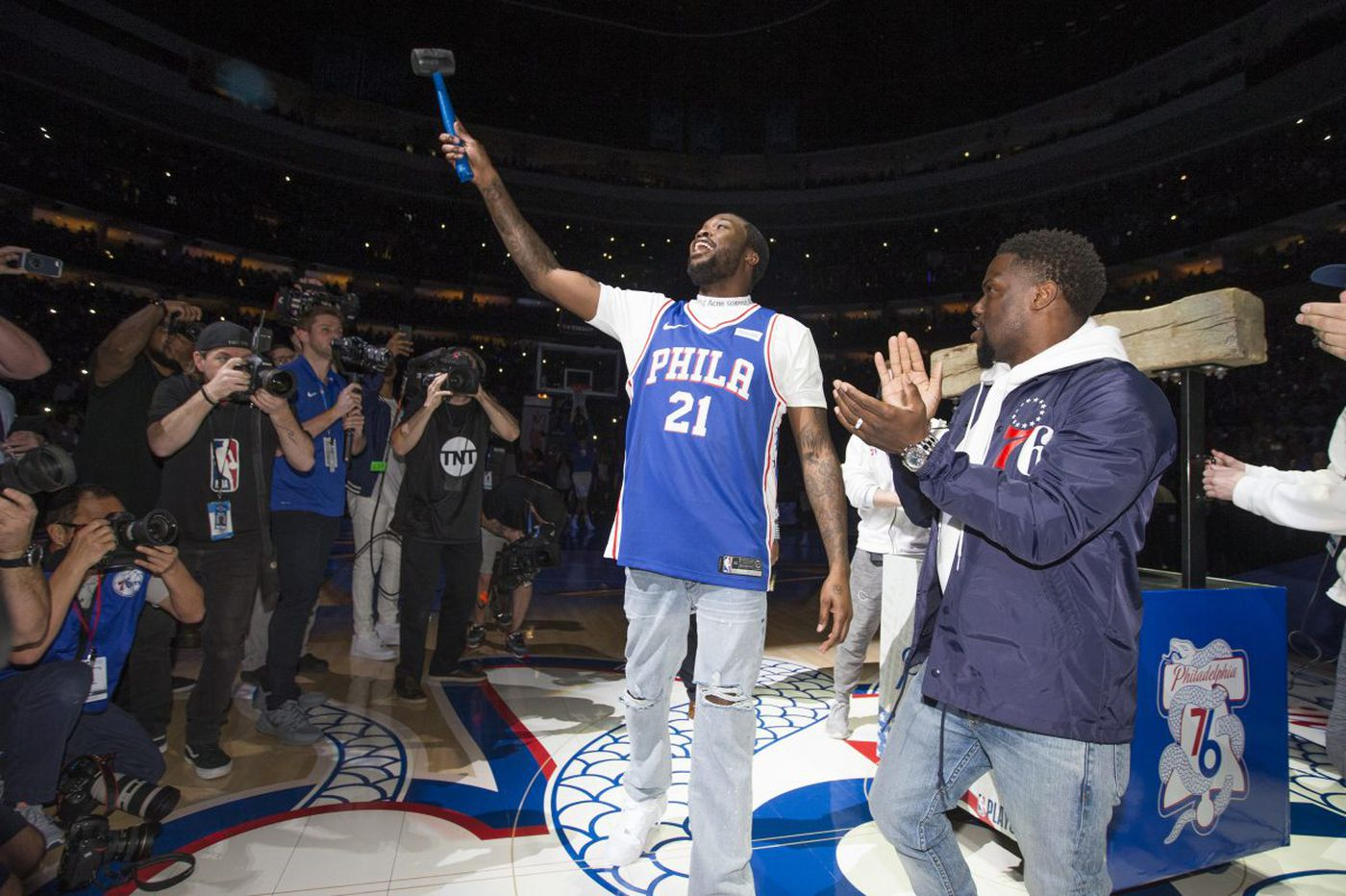 WATCH  Meek Mill rings the bell before Sixers-Heat NBA playoff game after  being freed from prison f19425a40