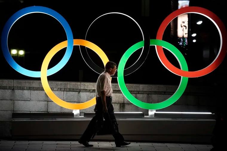 The Olympic rings on display in Tokyo in July.