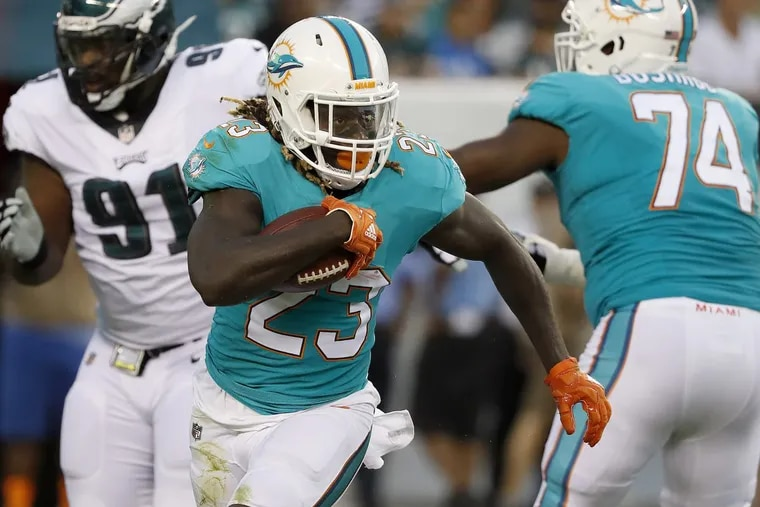 Eagles traded for Dolphins' running back Jay Ajayi. He is pictured in a preseason game between the Eagles and Miami Dolphins in Philadelphia, PA on August 24, 2017. DAVID MAIALETTI / Staff Photographer