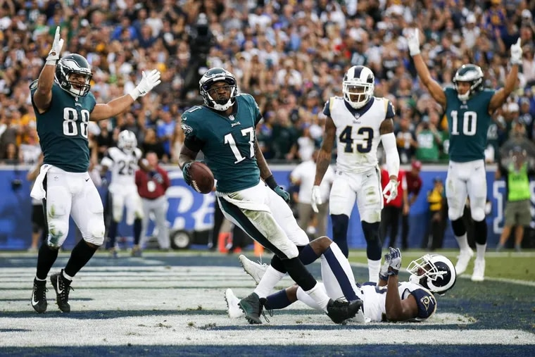 Philadelphia Eagles wide receiver Alshon Jeffery made an impressive touchdown catch during the third quarter of Sunday's 43-35 win over the Rams in Los Angeles.