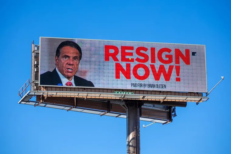 A billboard urging New York Gov. Andrew Cuomo to resign is seen near downtown Albany, N.Y., in March. On Tuesday, Cuomo resigned from office, effective in 14 days, following allegations of sexual harassment.