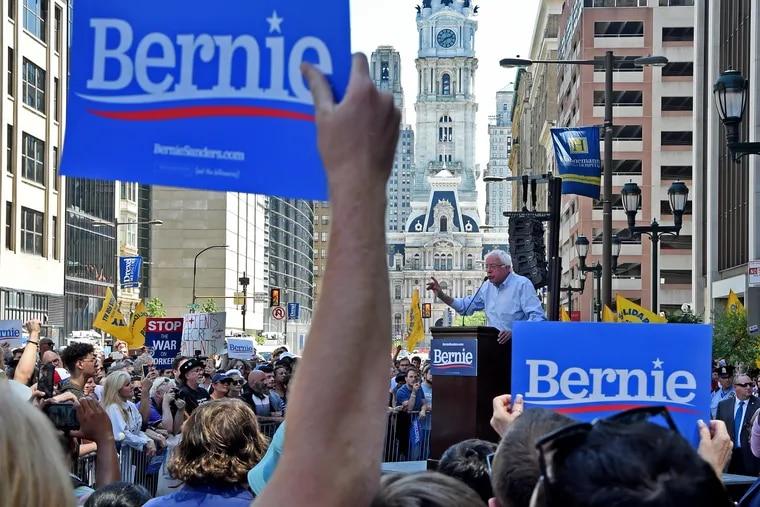 Democratic presidential candidate Bernie Sanders speaks at a rally July 15 at Hahnemann University Hospital in Philadelphia.