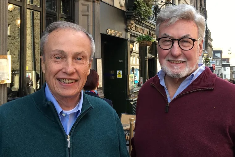 Mr. McKernan (left) and brother-in-law Chris Harm visited Edinburgh, Scotland, on one of their many travels.