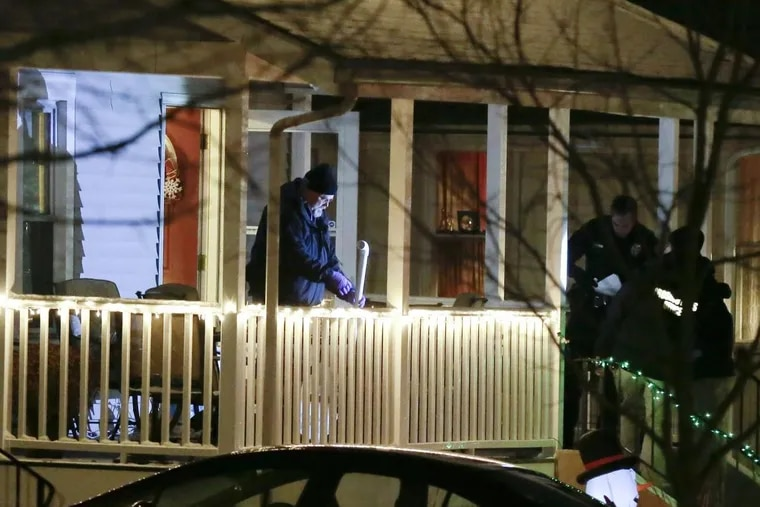 Police investigate the scene at 107 E. Narberth Terrace in Collingswood, NJ on December 30, 2017. Just after 5pm, Breaking News Network reported a multiple stabbing with 2 victims DOA and another with multiple stab wounds to the face and neck.