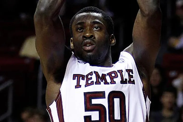 Micheal Eric scored 16 points in Temple's win over Akron at the Liacouras Center. (Matt Slocum/AP)