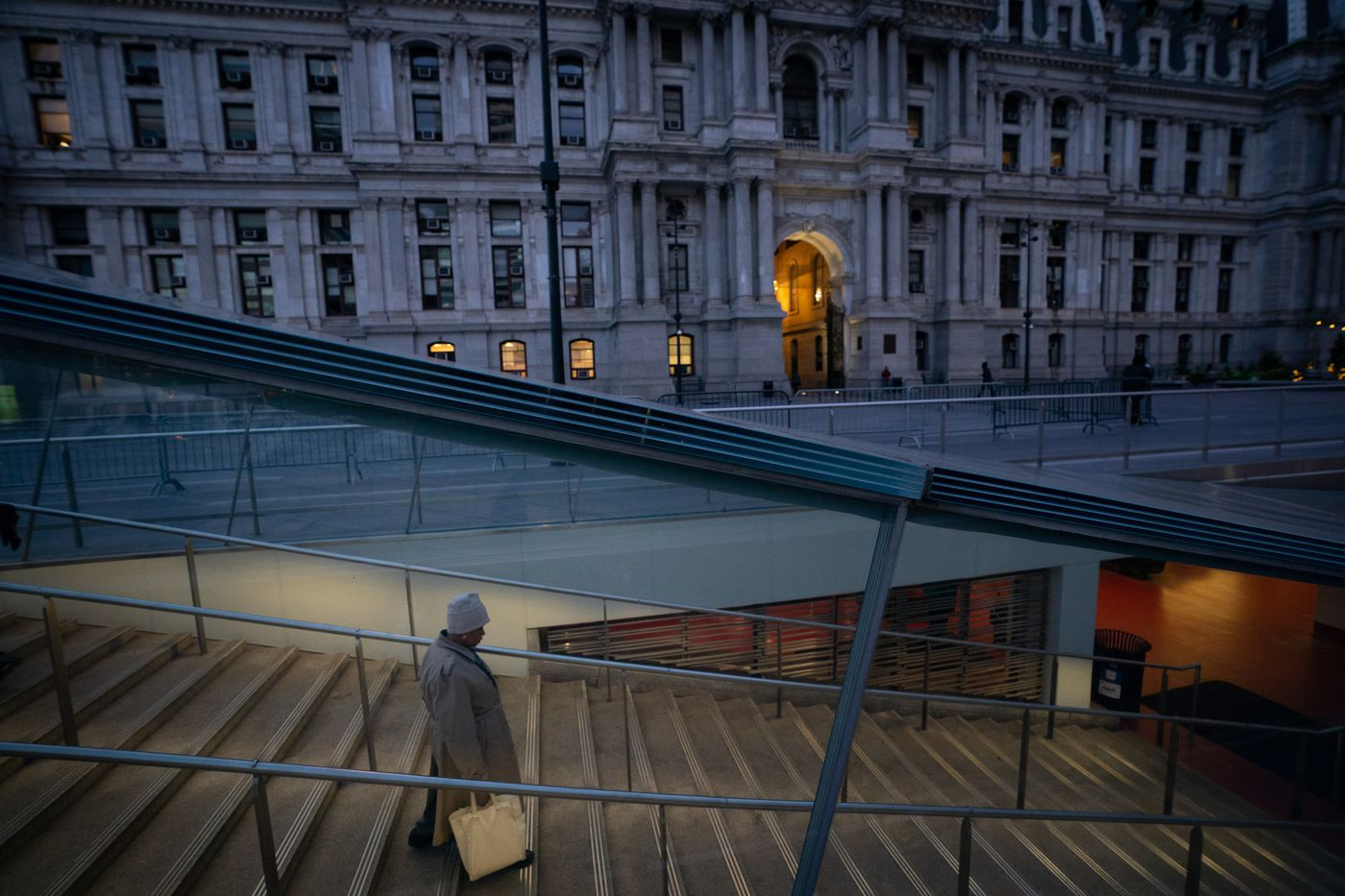 A view of a subway entrance located in front of City Hall in Dilworth Plaza, around 7am in Philadelphia, March 16, 2020.