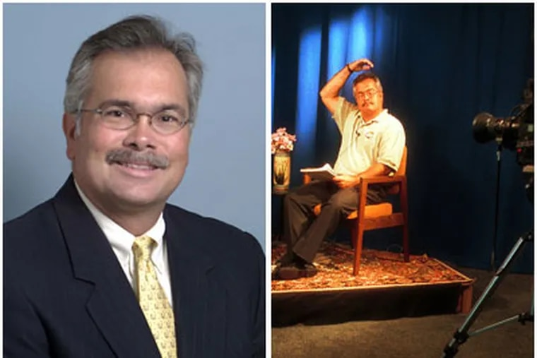 Dave Bashore, seen left in 2006, was fired in April as Radnor's Township Manager. He's seen right in a public access show in 2001.