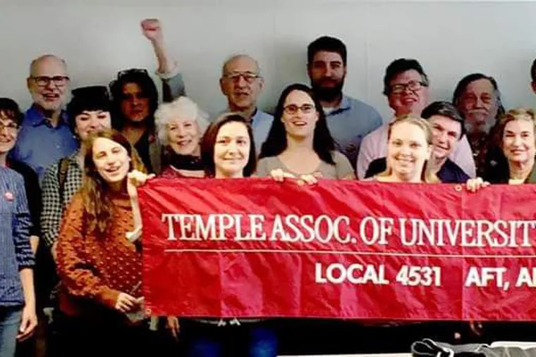 """Members of Temple's faculty union at Thursday's first """"open"""" bargaining session."""