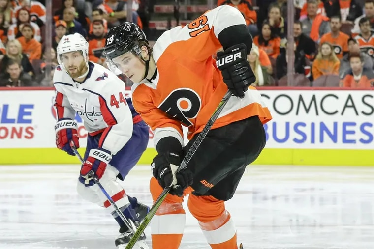 Flyers center Nolan Patrick, shown in a game last month against Washington, is getting closer to returning to the lineup.