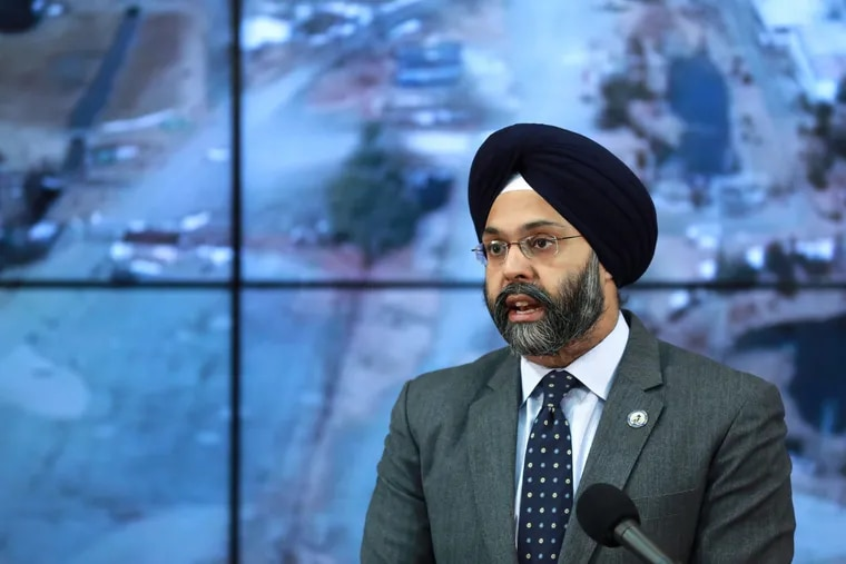 Attorney General Gurbir Grewal and Department of Environmental Protection Commissioner Catherine McCabe announce the filing of four lawsuits against DuPont, Chemours, and 3M for contamination on Wednesday, March 20, 2019. (Office of the Attorney General/Tim Larsen)