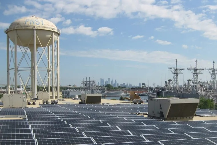 The first phase of the Navy Yard Community Solar project is being  installed on a warehouse rooftop at the South Philadelphia site.